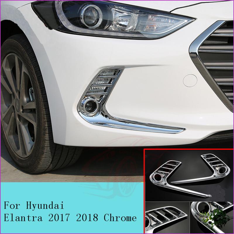 For Hyundai Elantra Avante 2016 2017 Chrome Front+Rear Fog Light Lamp Cover Trim