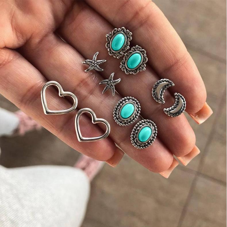 5Pairs//Lots Women Vintage Turquoise Earrings Ear Stud Boho Crystal Earrings