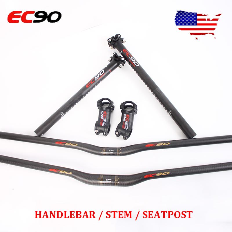 TEMANI 3K Matte Full Carbon Bicycle Handlebar Set MTB Handlebar Seatpost Stem