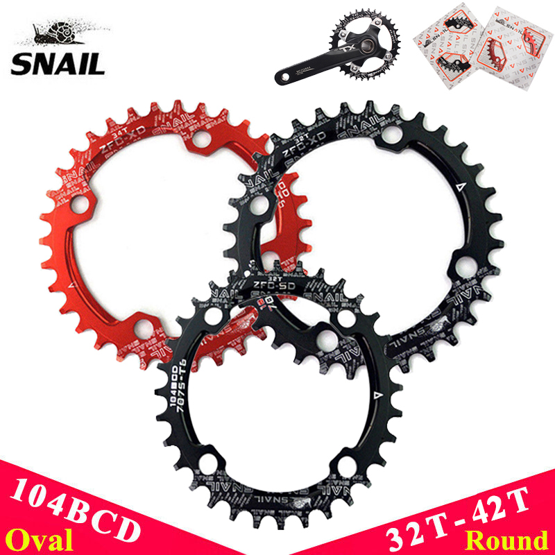 SNAIL 104bcd 32-42T MTB Bike Chainring Narrow Wide Round//Oval Chainwheel Disc