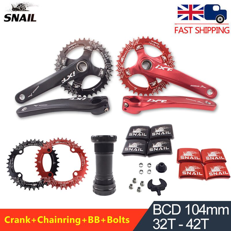 104bcd MTB Bike Crankset 170mm Crank Chainset 32T-42T Narrow Wide Chainring BB