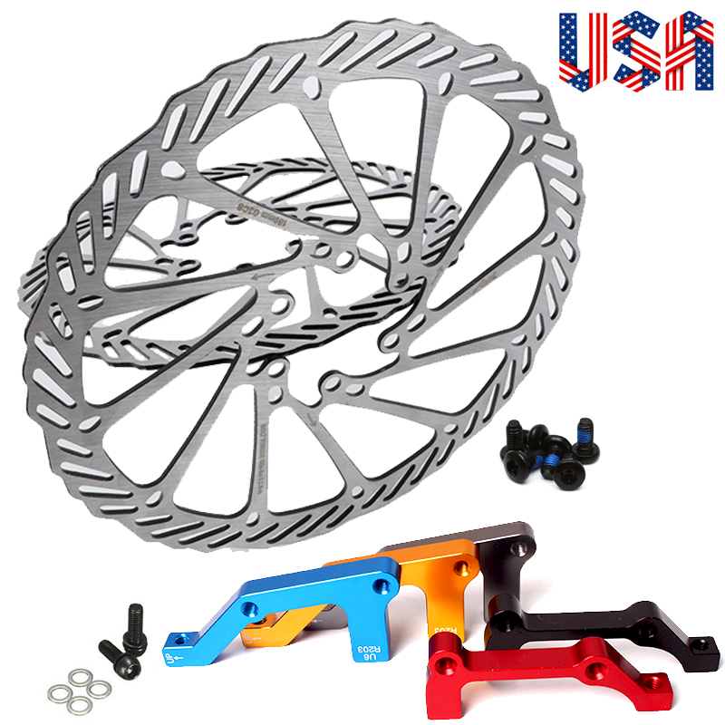 MTB Bike Disc Brake Rotor Front Rear IS 180//203mm Adapter Caliper Post Mount US