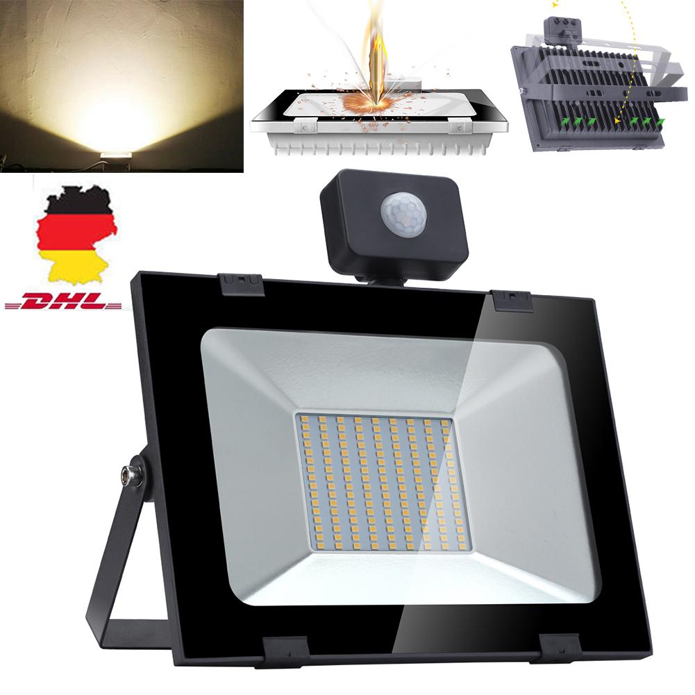 200W LED Fluter Außen Sicherheit Garten Lampe Strahler IP65 Flutlicht Weiß DHL