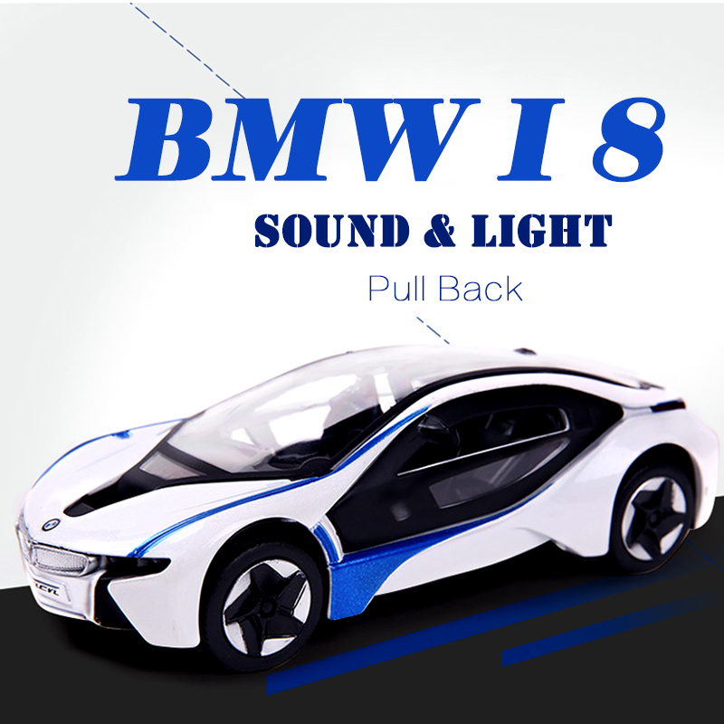 Xmas Gift Bmw I8 White 1 32 Diecast Model Car For Kids Sound Light