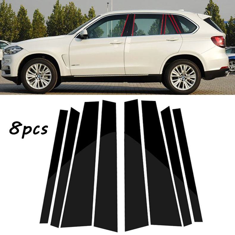 Fit for BMW X5 2014-2018 Black Pillar Posts Set Door Trim Piano Cover Kit 8pcs