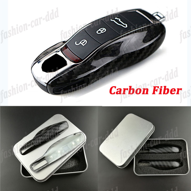 3pcs Carbon Fiber Key Fob Chain For Jeep Dodge Chrysler Remote Key Cover Case