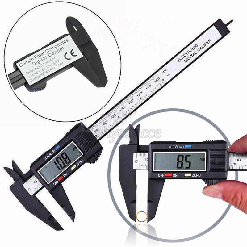 Digital Caliper Micrometer Ruler Electronic Gauge Measuring Tool Vernier 0-6in