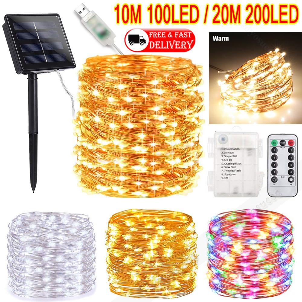 UK LED Solar String Lights Waterproof Bulb Strip Wire Fairy Outdoor Garden Xmas