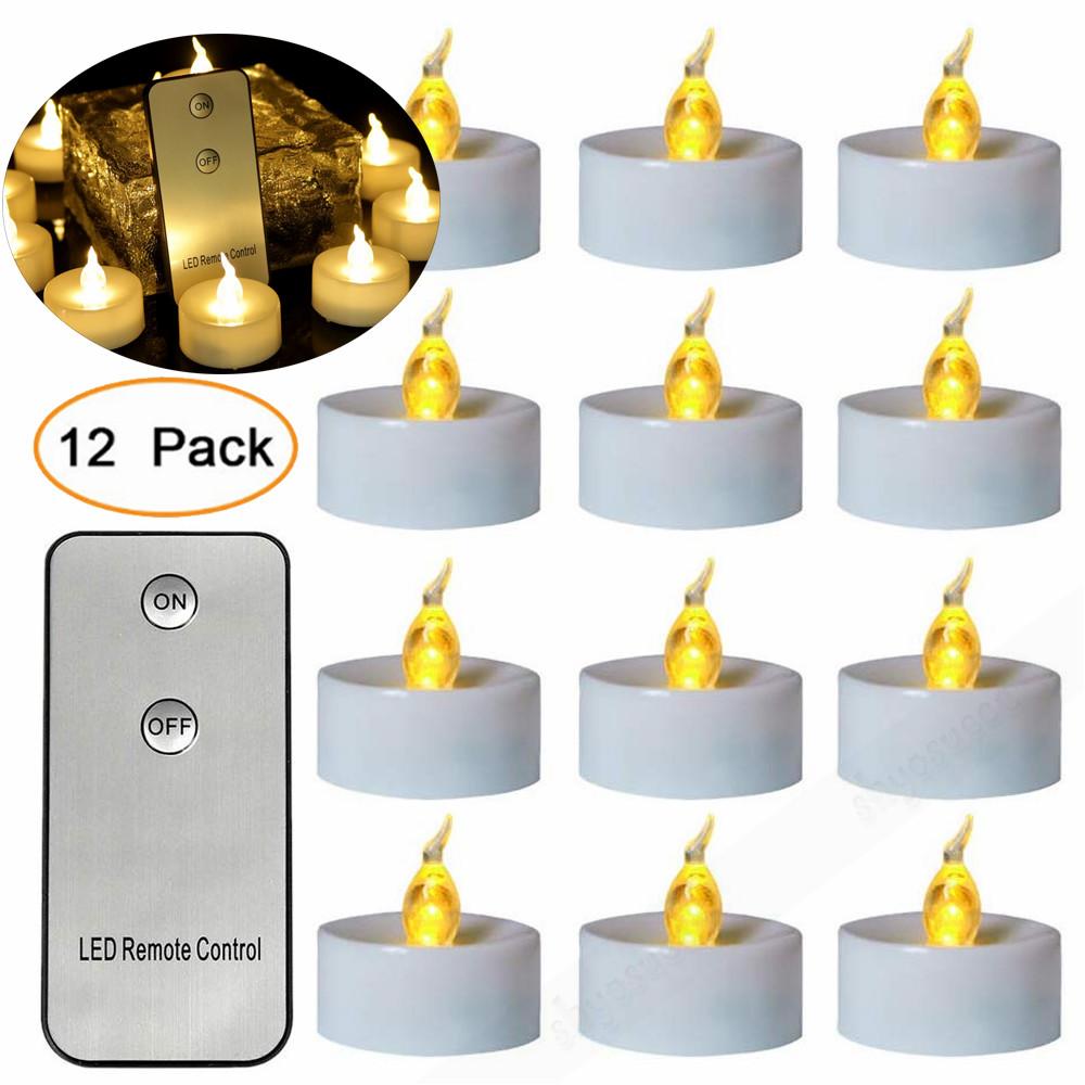 12 24 Led Teelichter Mit Fernbedienung Batterien Flackernd Teelicht Kerzen Licht Ebay