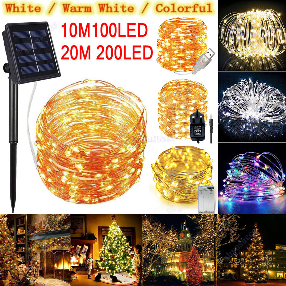 100 DECORATIVE LED STRING LIGHTS WHITE GARDEN SOLAR POWER FAIRY PARTY XMAS