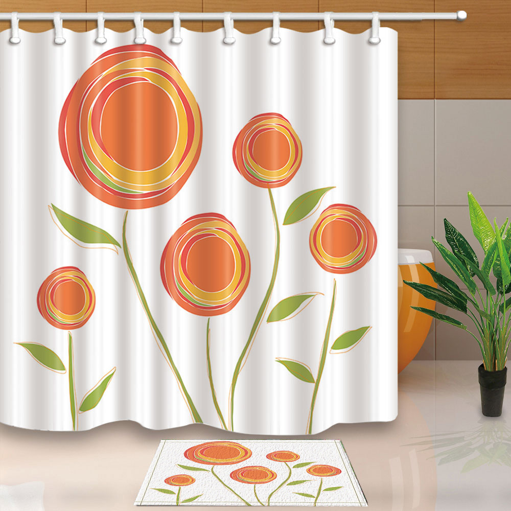 Contracted Flowers Polyester Waterproof Fabric Shower Curtain Liner