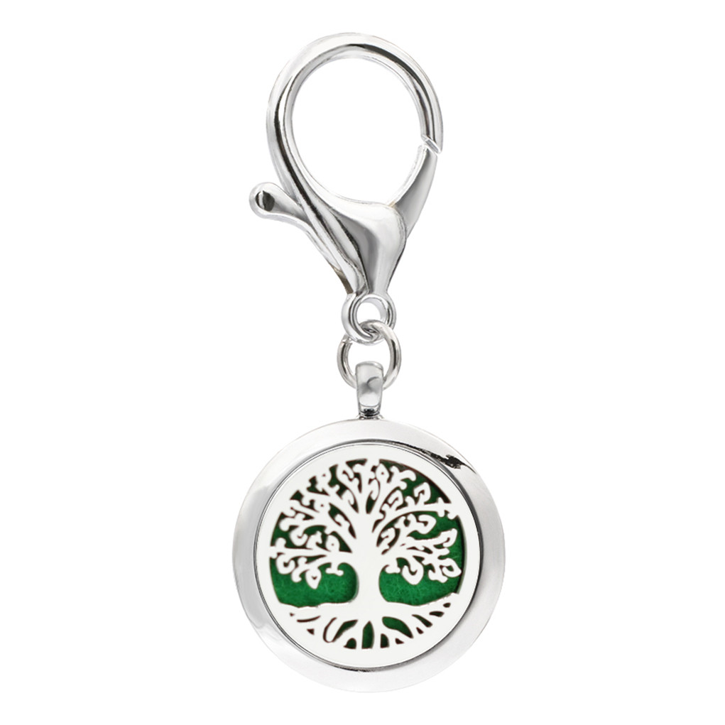 10 Felt Pads for Essential Oil Beautiful Crystal Tree Aromatherapy Keychain