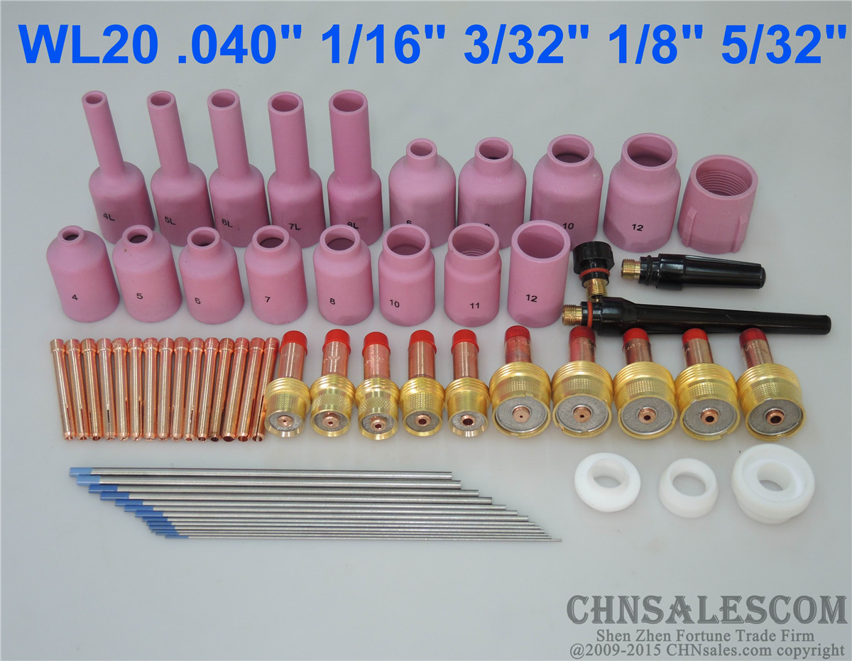 49PC TIG Welding Torch Body Parts Gas Lens Nozzle Collet Cup Kit For WP-17//18//26