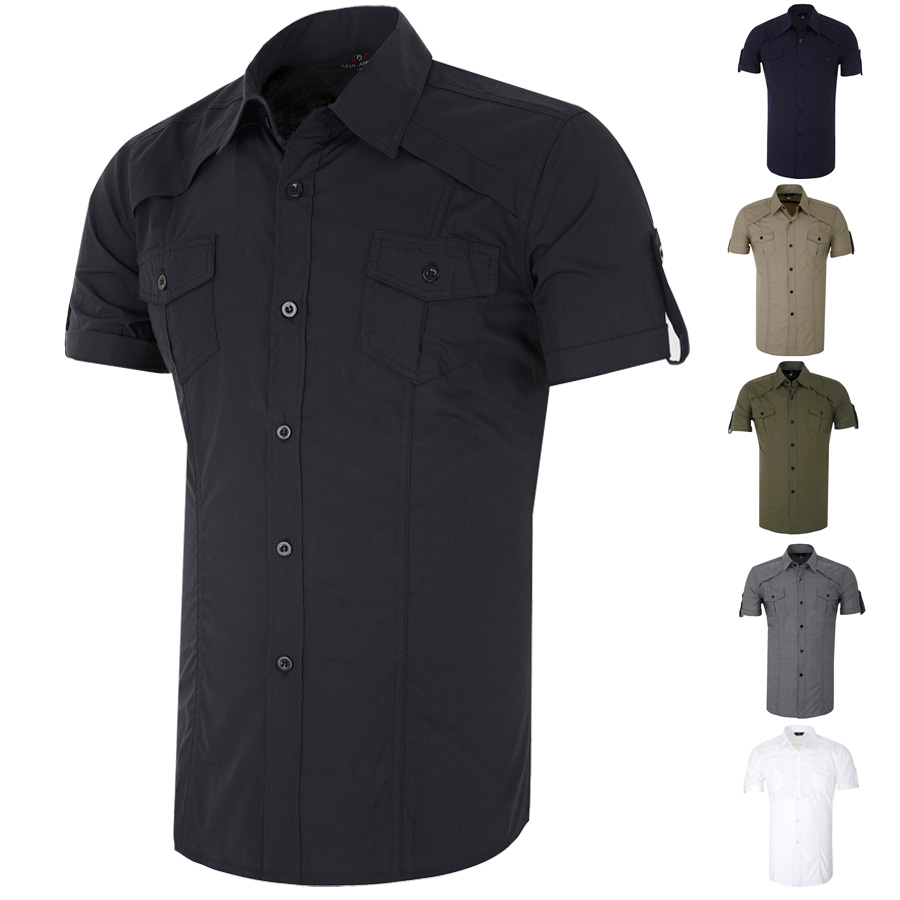 Mens Short Sleeve Button-Down Military Casual Shirts Top Blouse ...