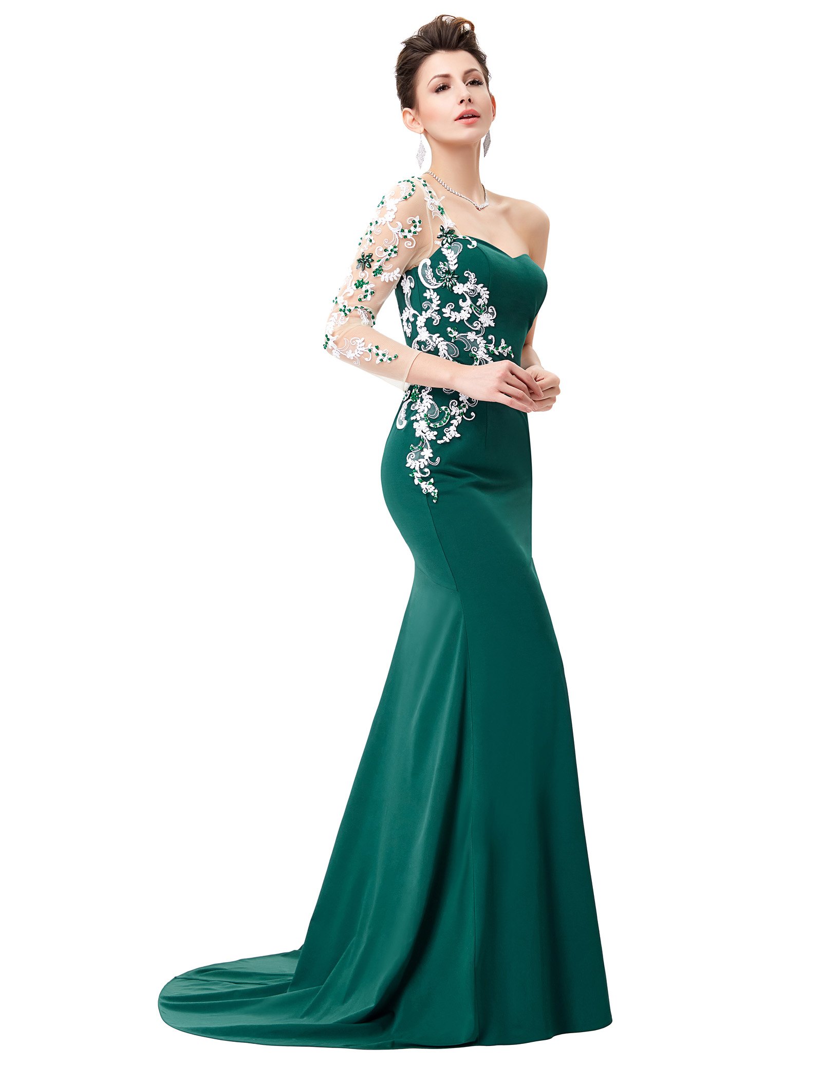 Dark Green Ladies Floor-Length Sleeve Ball Gown Evening Prom Party ...