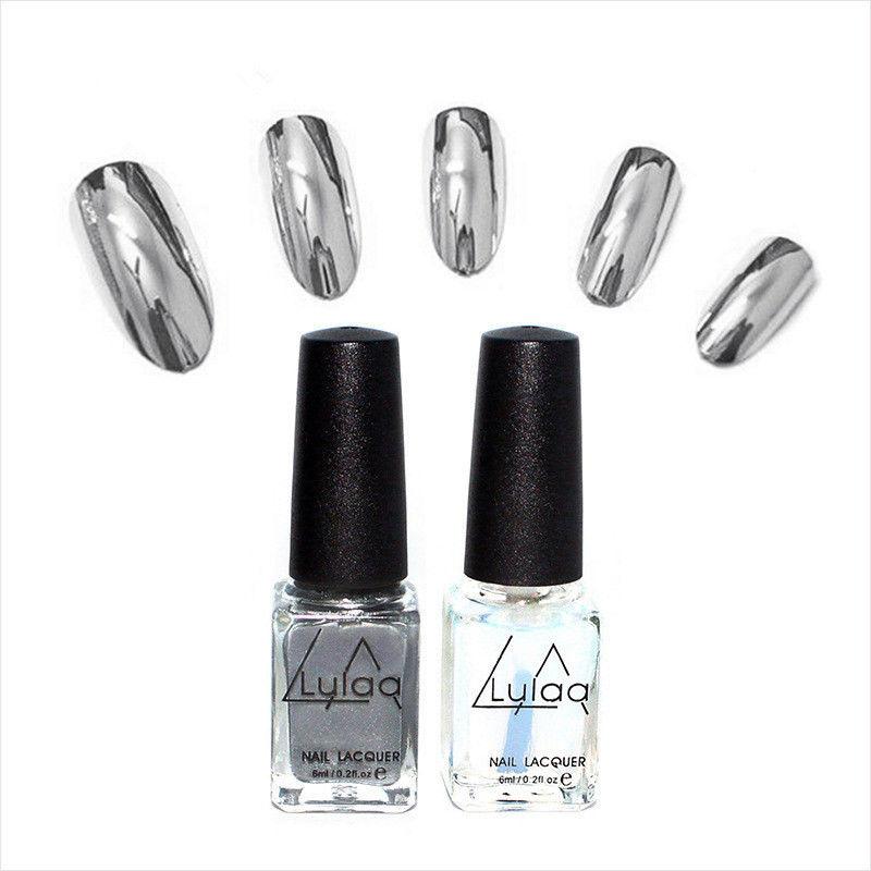2x Esmalte de uñas Espejo Efecto Cromo Arte Plata Brillo Laca ...