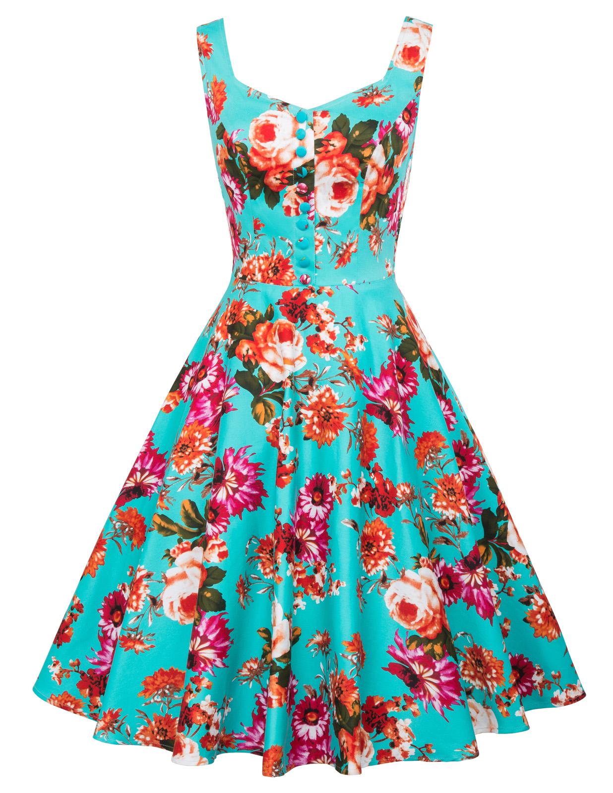 Women-039-s-Vintage-Retro-Style-1950s-60s-Sleeveless-Floral-Evening-Prom-Swing-Dress
