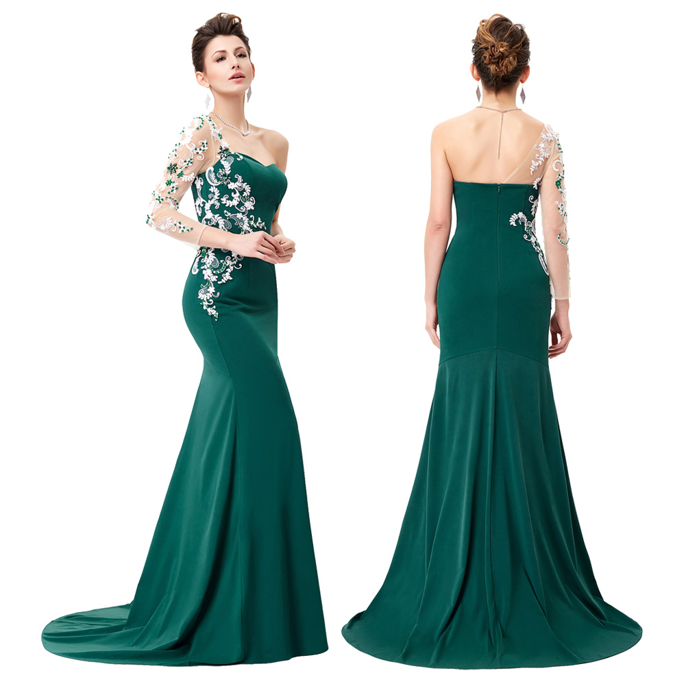 High Grade Ladies Floor-Length Sleeve Ball Gown Evening Prom Party ...