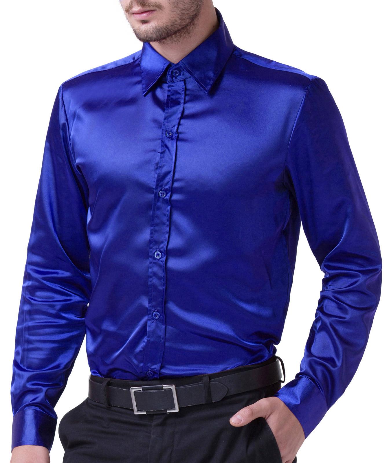9fec3882b55 Fashion Men Shirts Luxury Silk-Like Satin Dress Shirt Tops Wedding ...