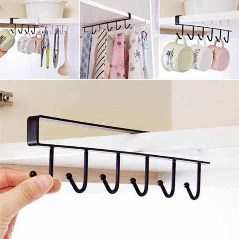 6 Haken Becherhalter Aufhängen Küchenschrank unter Regal ...