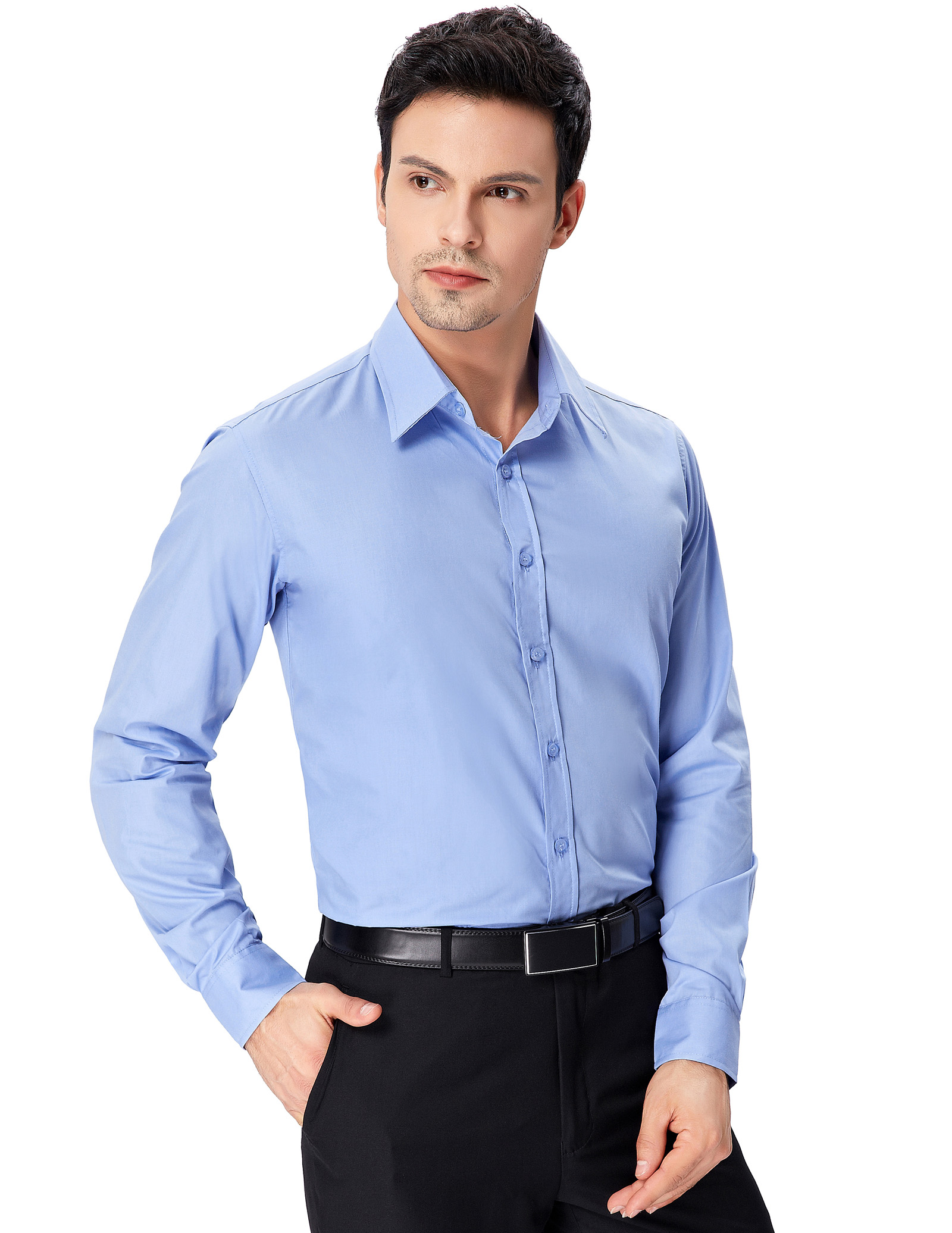 Stylish men 39 s long sleeve slim fit shirt tops casual for Mens fitted long sleeve dress shirts