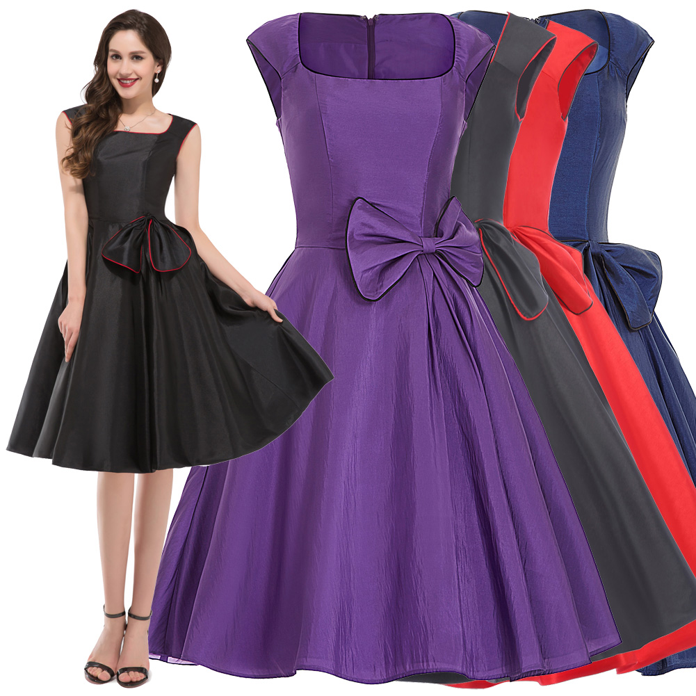Vintage 1950s Pinup Swing Evening Cocktail Party Dress Retro Bow ...