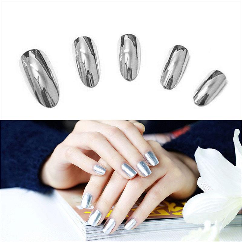 2 piezas 6ml Metálico Efecto Espejo Esmalte de uñas Plateado Laca ...