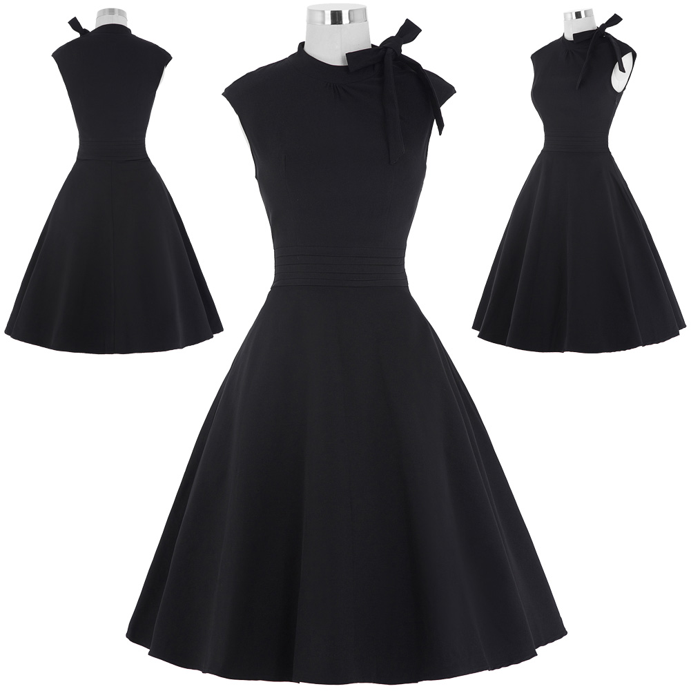 Kleid-Vintage-Swing-1950er-Jahre-Hausfrau-Party-Cocktail-Ball-aermellos-Skater
