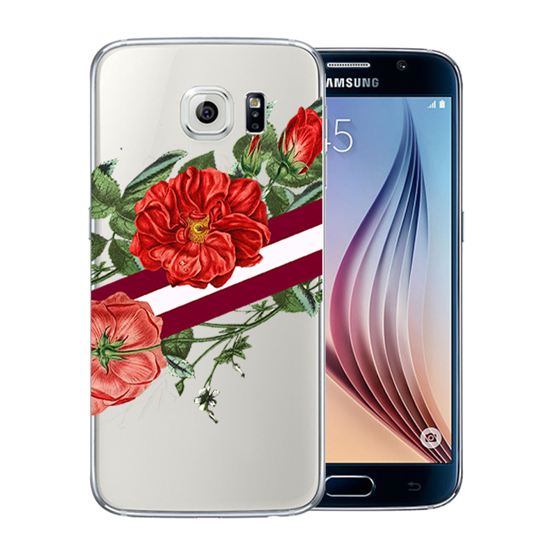 Flower Soft TPU Silicone Case For Samsung Galaxy S6 G920F Phone Back Cover Skins