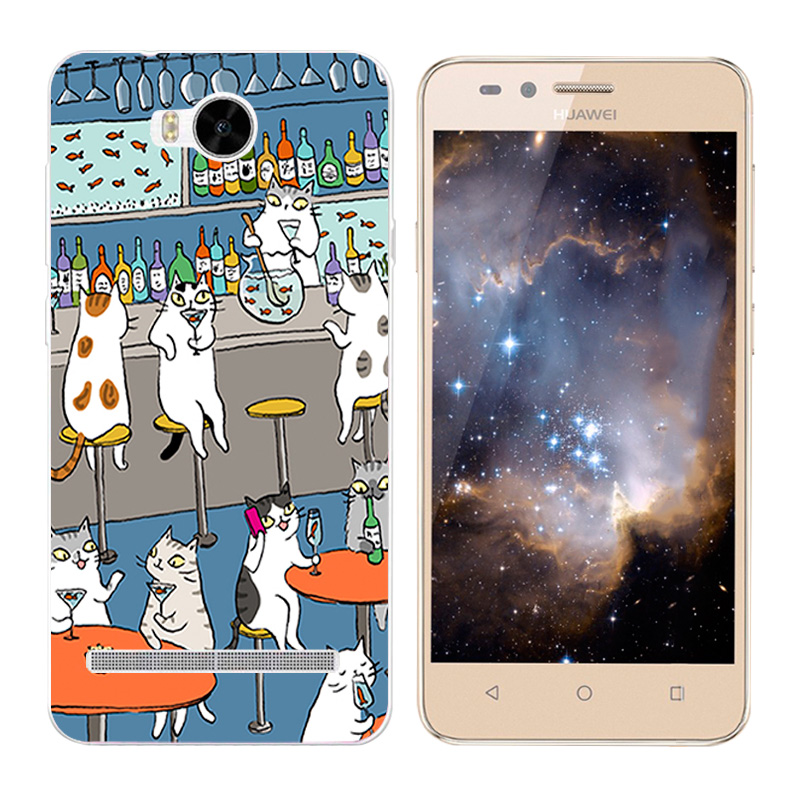 """4.5"""" Soft TPU Silicone Case For Huawei Y3 II Phone Back Cover Skins Cats"""