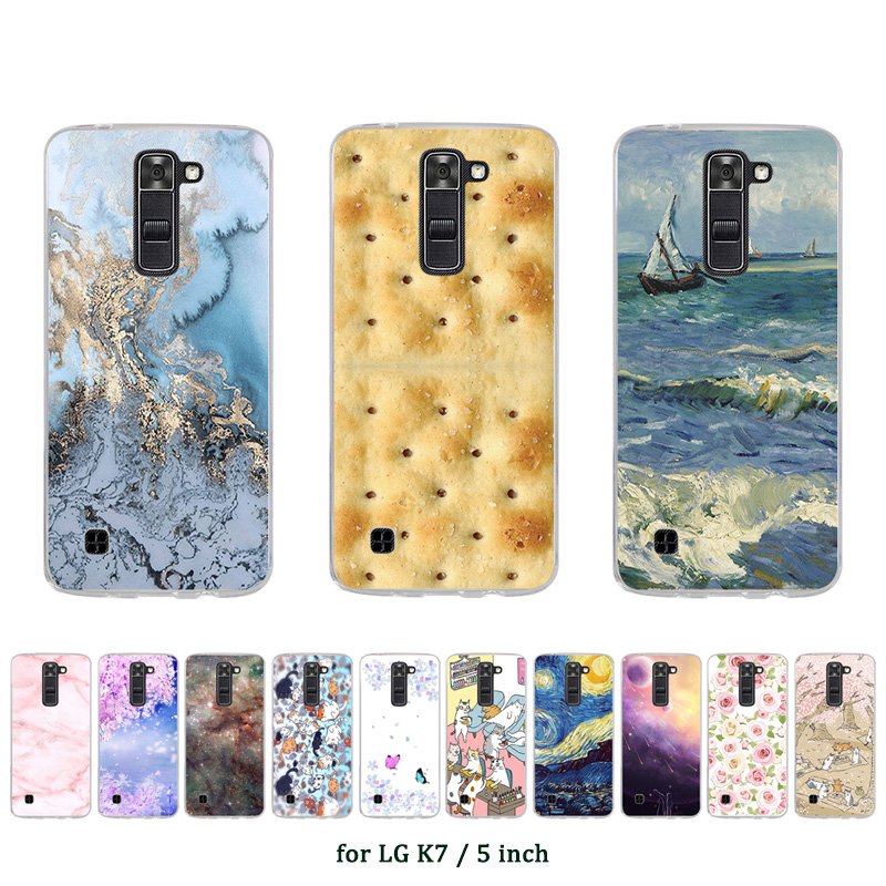 "Details about 5.0"" Soft TPU Silicone Case For LG K7 Protective Phone Back Cover Skins Marble"