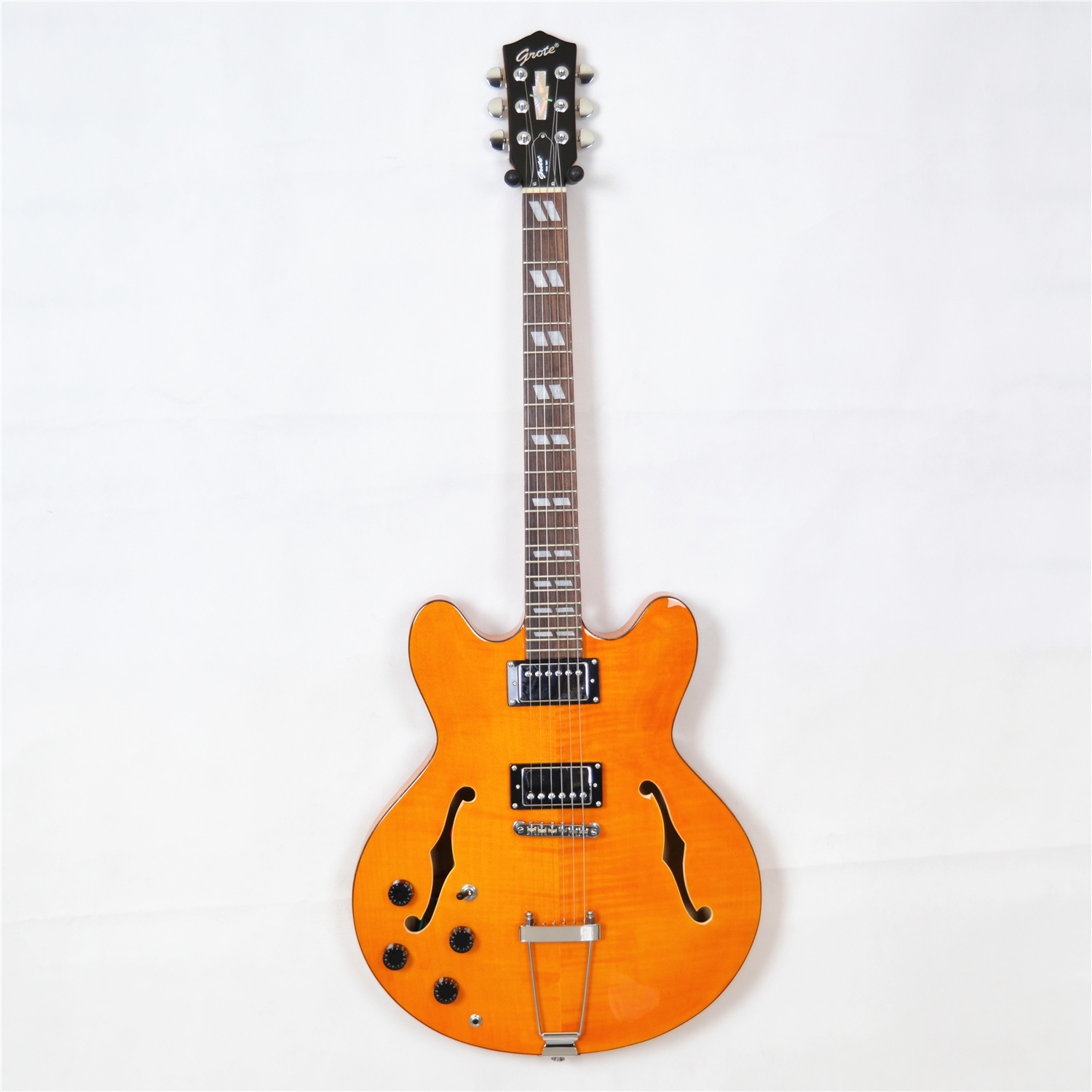 new grote jazz electric guitar left handed in yellow binding semi hollow body ebay. Black Bedroom Furniture Sets. Home Design Ideas
