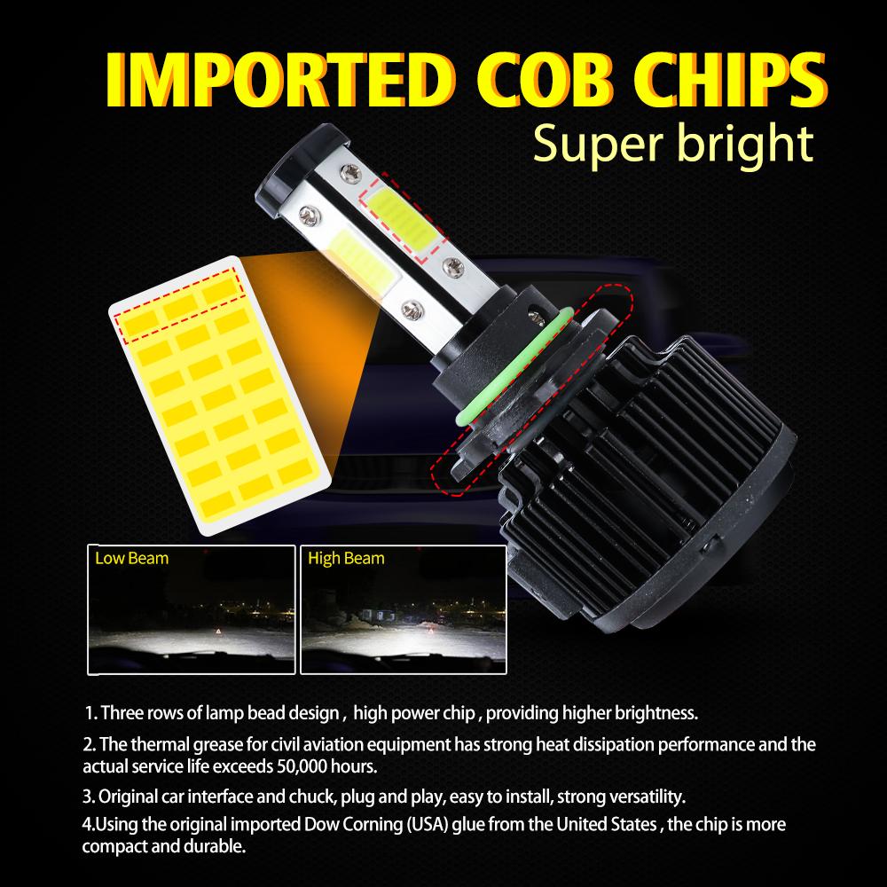 4-Side 9007 HB5 1800W 270000LM LED Headlight Kit High//Low Beam Bulb Canbus 6000K