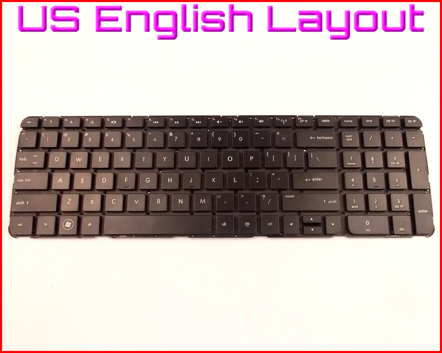 New US Keyboard Replacement for HP Compaq 9Z.N7YUW.001 NSK-CK0UW 01 670321-001 w//o Frame