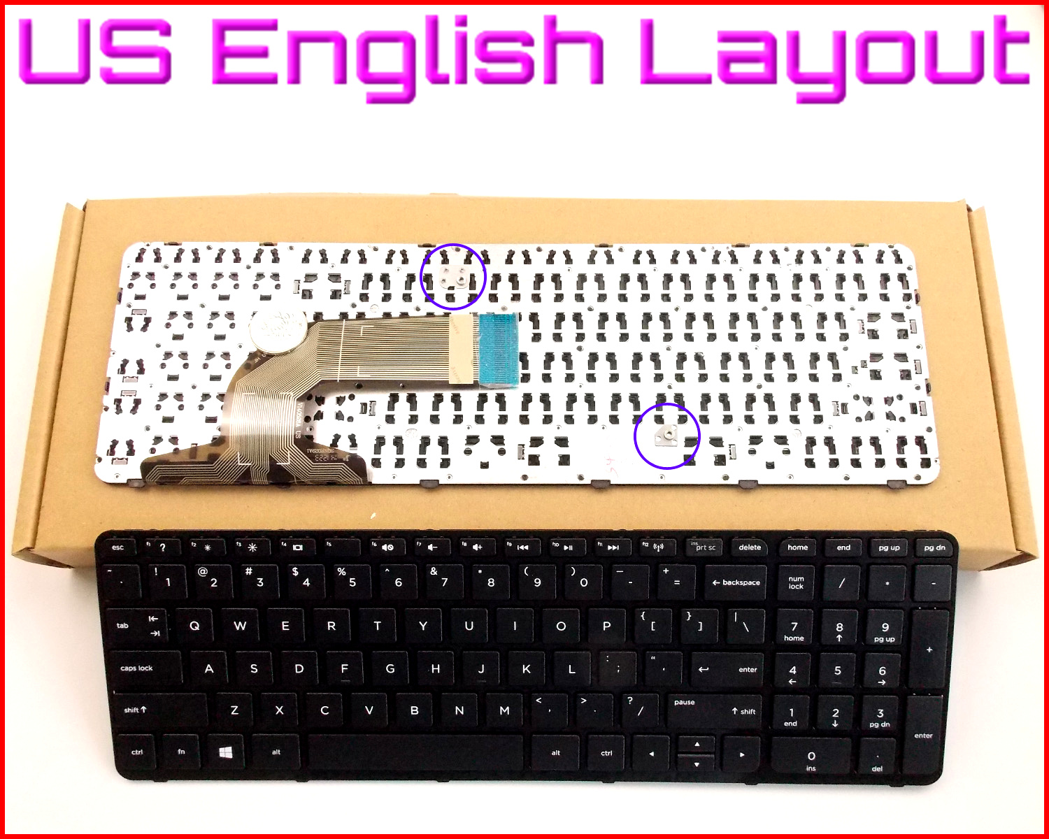 HP Pavilion 15-b119wm 15-b129wm 15-b136tx 15-b162us Laptop Keyboard US Frame