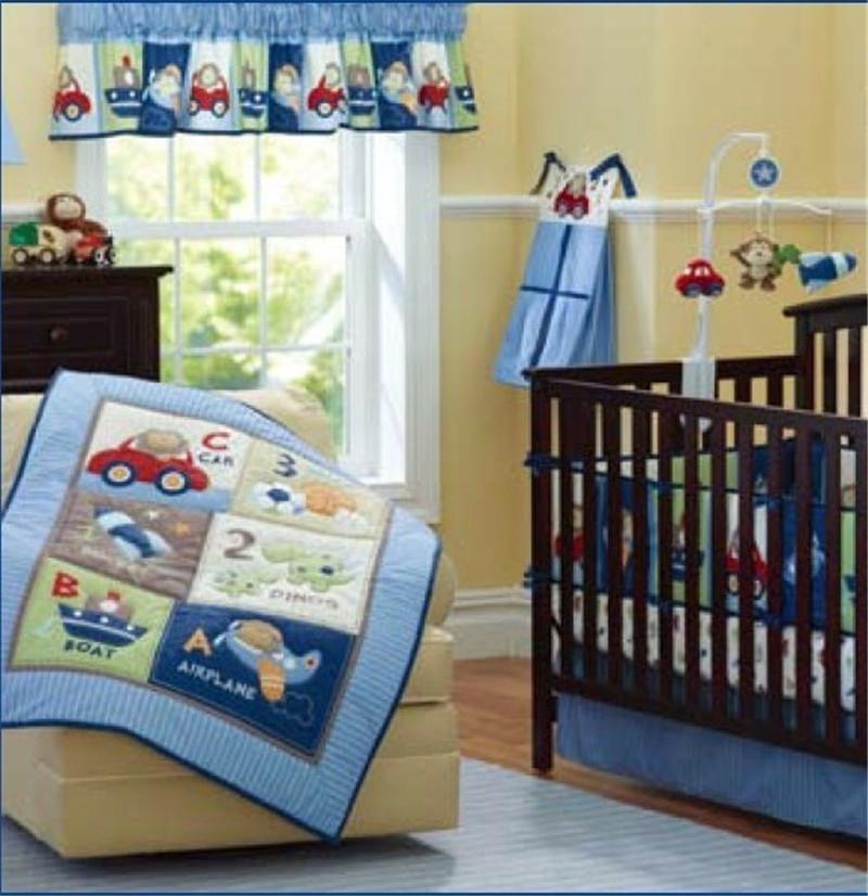 Blue Ship Car Airplane Baby Boys Crib Nursery Bedding