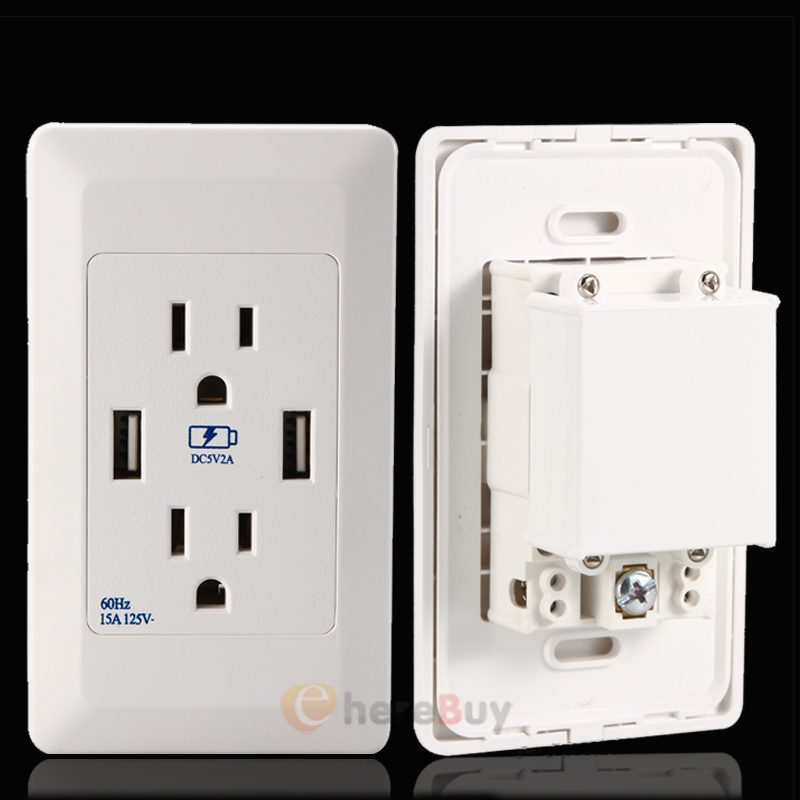 2x Dual USB 2 Port Wall Socket Charger AC Power Receptacle Outlet ...