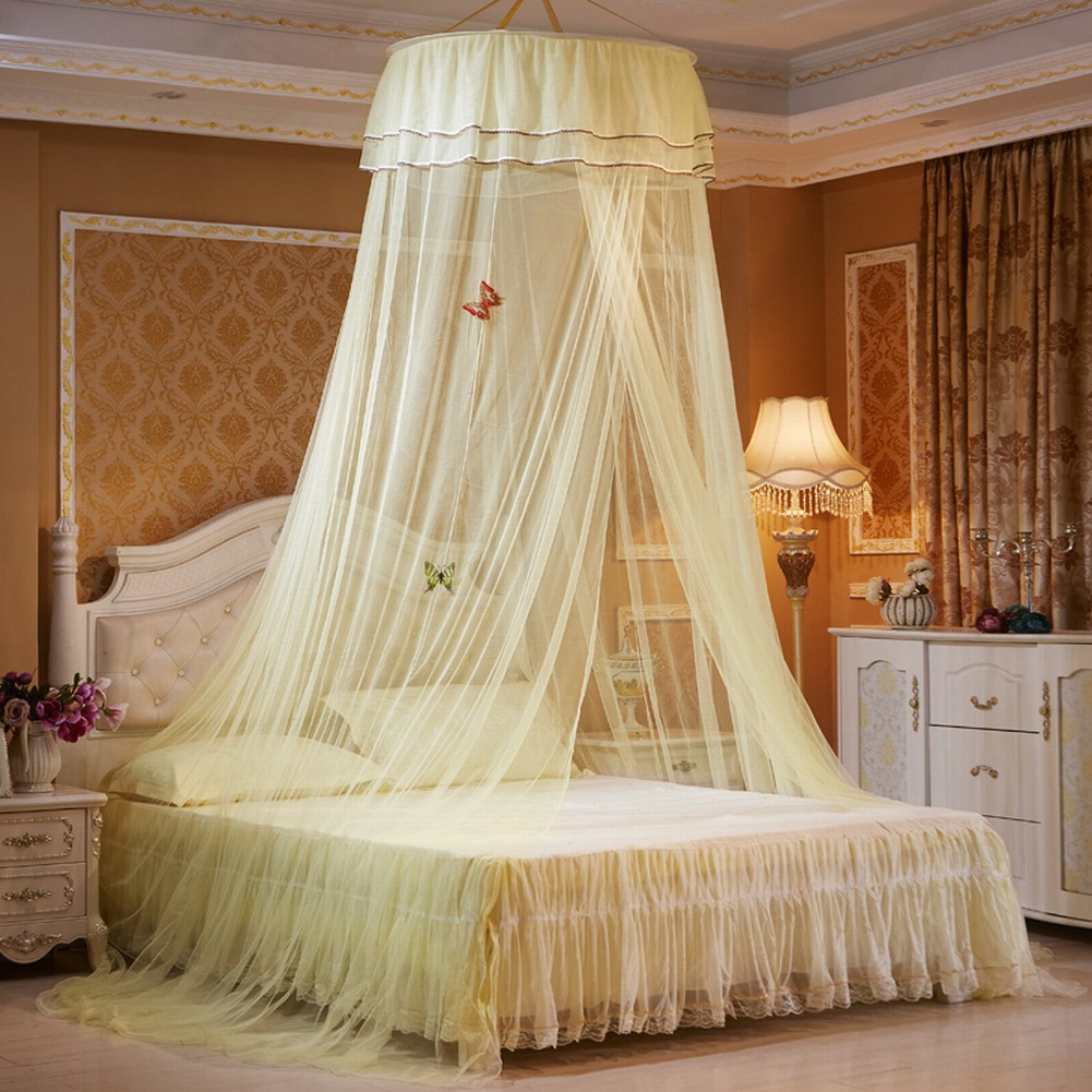 mosquito net bed canopy lace luxury round princess fly screen