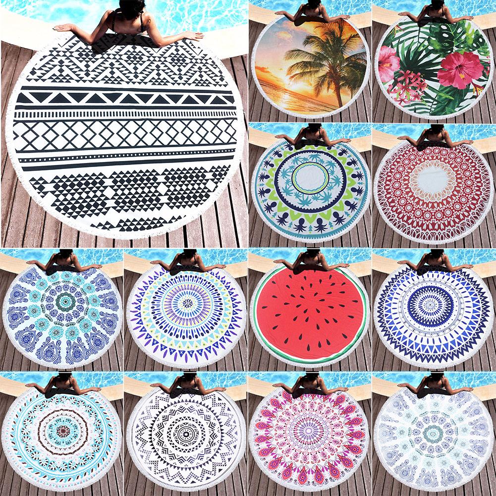 150cm Beach Towel Summer Large Printed Big Round Circle Picnic Blanket Shawl New