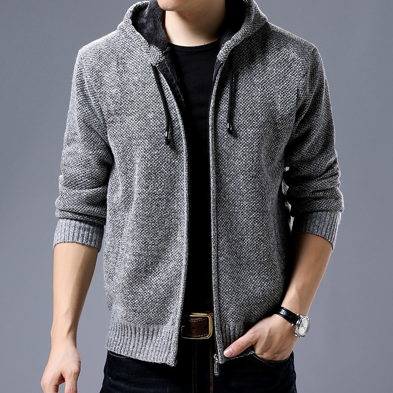 Men-039-s-Casual-Knitted-Zip-Hooded-Cardigan-warm-Sweater-Tops-Jacket-Coat-Thicken