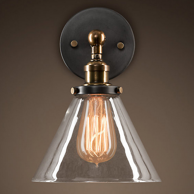 Industrial Wall Lamp Glass Cover Light DIY Lighting Home Cafe Retro ...
