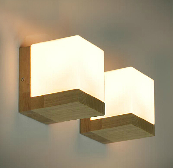Solid wood wall lamp glass cover light diy lighting home cafe nice solid wood wall lamp glass cover light diy lighting home cafe retro hall 1 pair aloadofball Images
