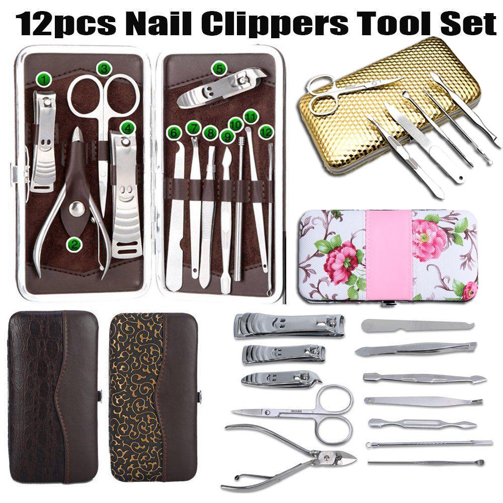 12Pcs Nail Clipper Kit Scissors Personal Nail Pedicure Care Men ...