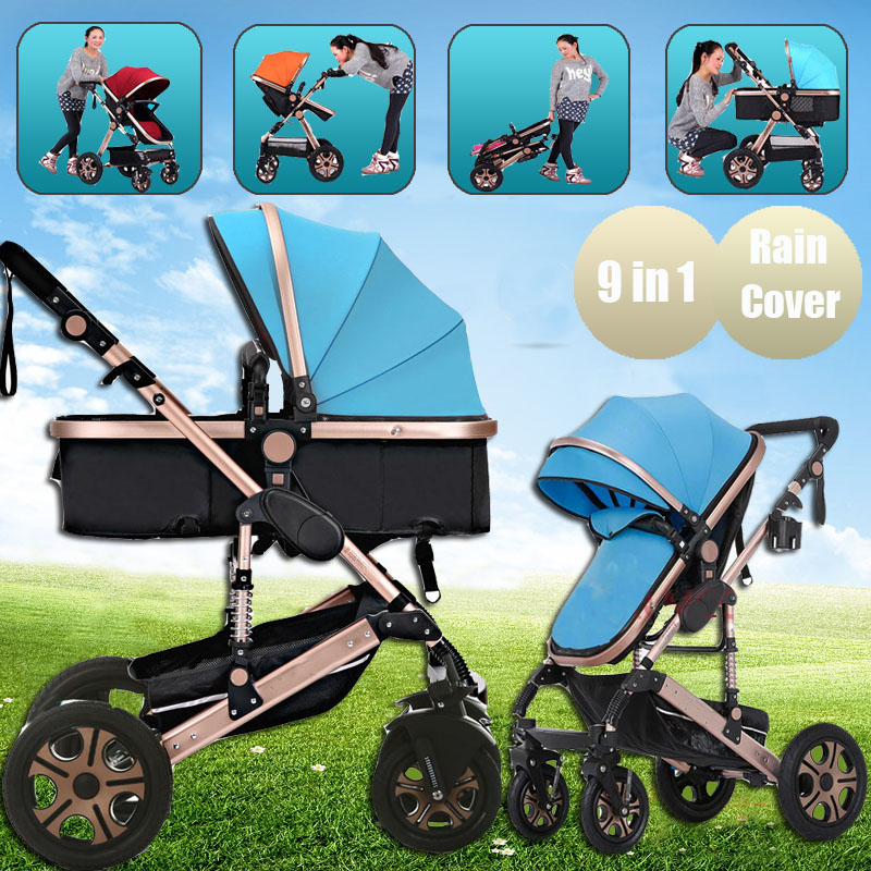 Pushchair 2 in 1 Baby Stroller Travel System Foldable Infant Buggy with Reversible Bassinet Reverse or Forward Facing Rain Cover Mosquito Net