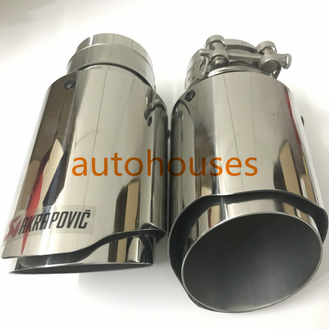 2PCS ID:60mm OD:89mm Universal Silver Stainless Steel Exhaust Tip Akrapovic pipe