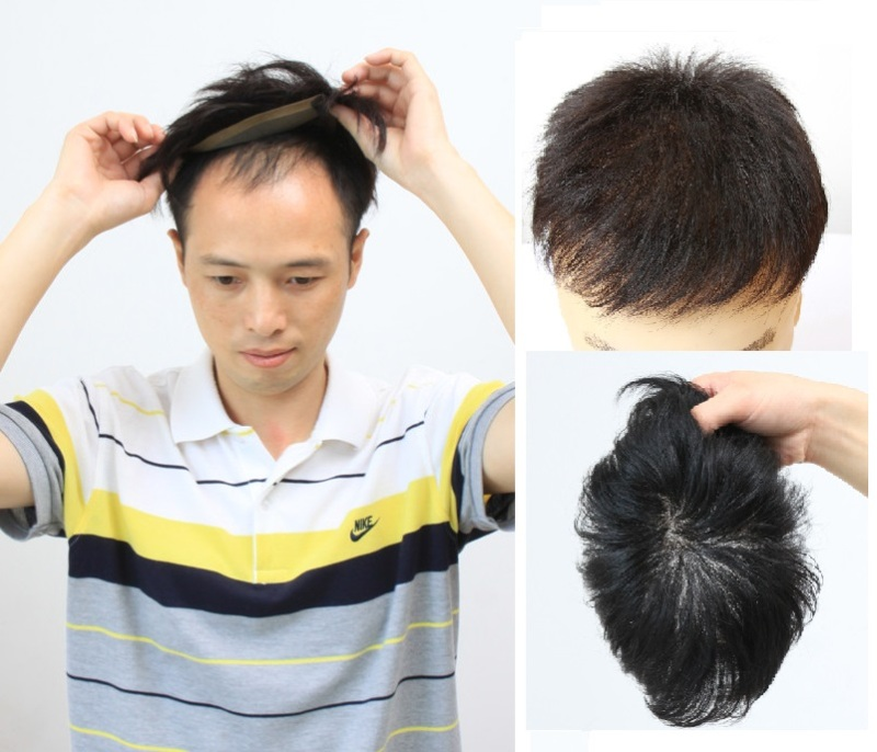 Hairpiece Human Hair Replacement System Toupee Free Style