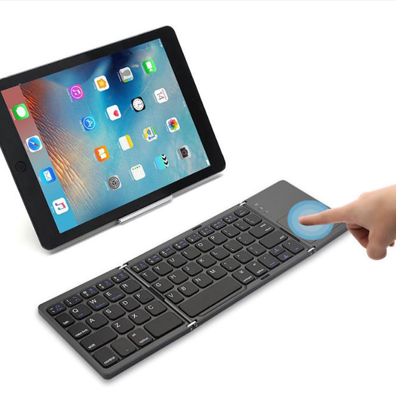 DP-iot HOT-Three System Universal Three-Fold with Touchpad Tablet Mobile Computer Wireless Bluetooth Folding Mini Keyboard