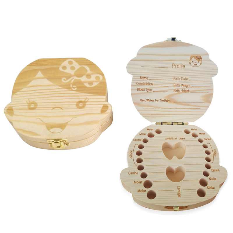 Lovely Baby Tooth Storage Souvenir Wooden Box Boy /& Girl Save Milk Teeth Case