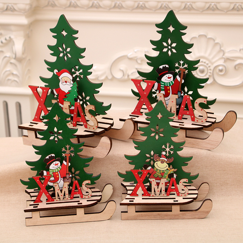 Wood Christmas Decorations.Details About Diy Wooden Christmas Scene Decoration Kit Diy Santa Sleigh Tree Reindeer