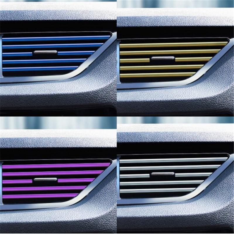 10Pcs//Set Car Decor Accessories Colorful Air Conditioner Air Outlet Decor Strips